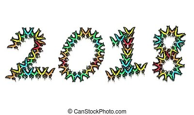 animated multicolored butterflies arrive, make up an inscription number 2018