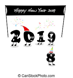 Animated numerals of 2019 year congratulating with new year.