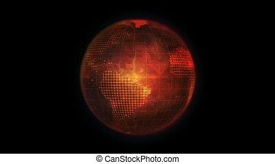 Animated orange Earth globe