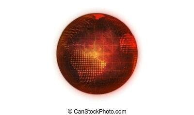 Animated orange planet globe
