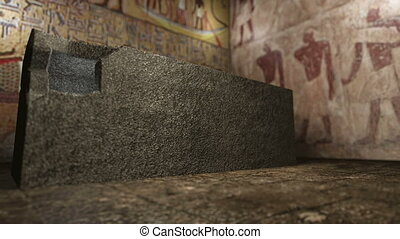 Animated pharaoh tomb in ancient Egypt 4K - A 3D rendered...