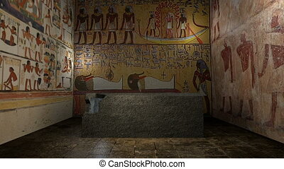 Animated pharaoh tomb in ancient Egypt with closing doors....