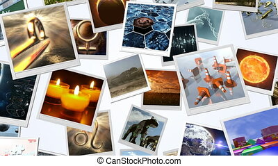 Animated photo cards image wall. 3D rendering. 4K