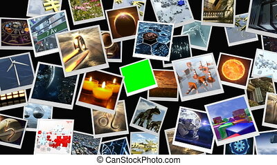 Animated photo image sheets with green screen. 3D rendering. 4K