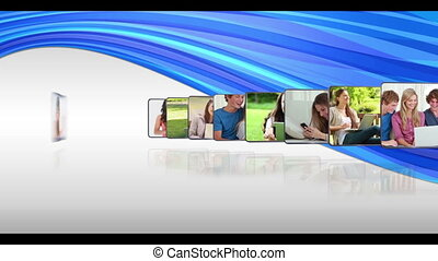 Animated photos of various media being used by young people on blue and white background