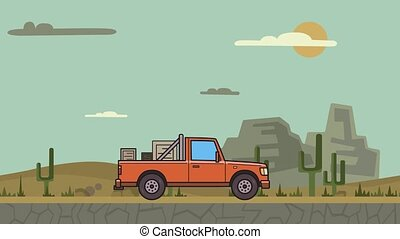Animated pickup truck with boxes in the trunk riding through canyon desert . Moving delivery car on desert landscape background. Flat animation.