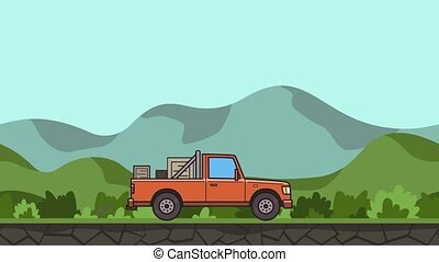 Animated pickup truck with boxes in the trunk riding through green valley. Moving delivery car on hilly landscape background. Flat animation.