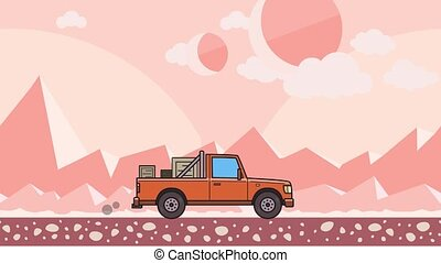 Animated pickup truck with boxes in the trunk riding through pink extraterrestrial desert. Moving delivery car on mountain desert background. Flat animation.