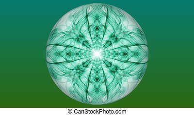Animated purple fractal patterns on white background. Vintage ornament in tunnel motion, beautiful decoration.