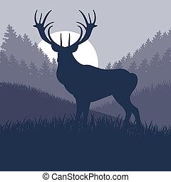 Animated rain deer in wild nature landscape illustration