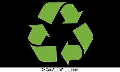 Animated recycling logo - Animation of recycling icon. Green...