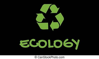 "Animated recycling logo with ""green"" slogan - Ecology -..."