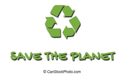 "Animated recycling logo with ""green"" slogan - Save The..."