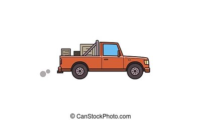 Animated red pickup truck with boxes. Delivery car, side...