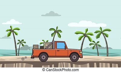 Animated red pickup truck with boxes in the trunk riding on...