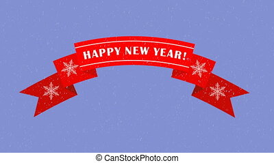 Animated red ribbon with a Happy New Year text