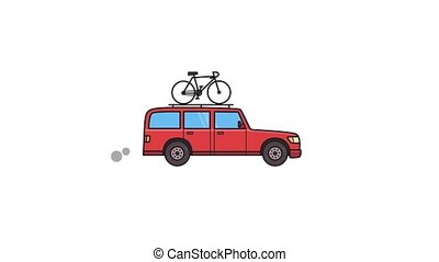 Animated red SUV car with bicycle on the roof trunk. Moving...