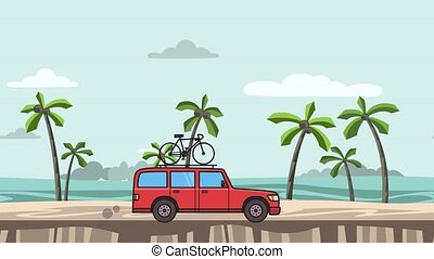 Animated red SUV car with bicycle on the roof trunk riding on the beach. Moving minivan, on seascape side view. Flat animation. Isolated on white background.