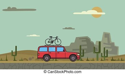 Animated red SUV car with bicycle on the roof trunk riding through canyon desert. Moving minivan on montain desert background. Flat animation.