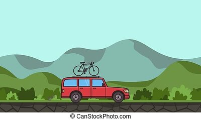 Animated red SUV car with bicycle on the roof trunk riding through gren valley. Moving minivan on hilly landscape background. Flat animation.
