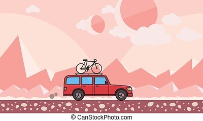 Animated red SUV car with bicycle on the roof trunk riding through pink mountain desert background. Moving minivan on extraterrestrial background. Flat animation.