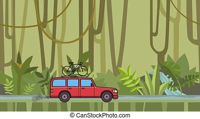 Animated red SUV car with bicycle on the roof trunk riding through rainforest. Moving minivan on jungle and river background. Flat animation.