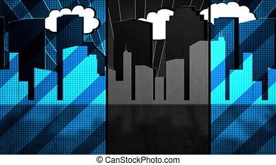 Retro City Added Retro Non Looping - Animated Retro City...