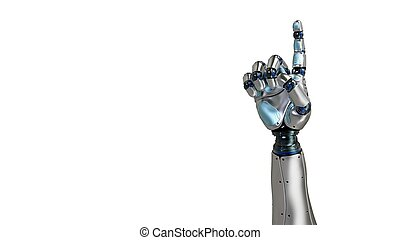 Animated robot hand counting 1 finger. Right hand. Alpha...