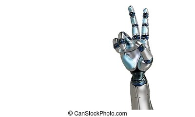 Animated robot hand counting 2 finger. Right hand. Alpha...