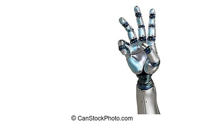 Animated robot hand counting 3 finger. Right hand. Alpha...