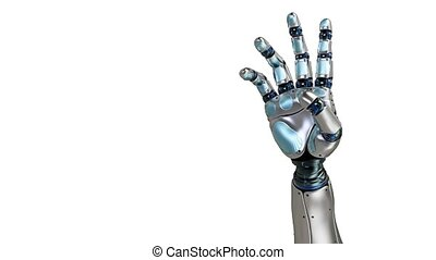 Animated robot hand counting 4 finger. Right hand. Alpha...