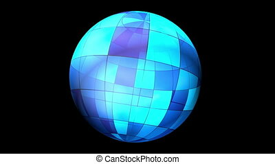 Animated Rotating Abstract Blue Radiant Sphere