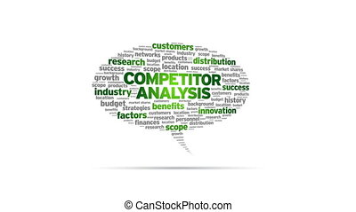Animated rotating Competitor Analysis Speech Bubble on white background.