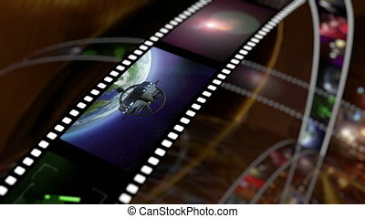 Animated rotating film reels 4K - Animation of rotating film...