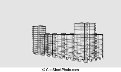 Animated rotation of a multi-storey building. Architectural concept. A drawing or sketch style. 3D illustration video