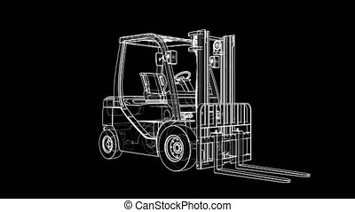 Animated rotation of the Forklift. Industrial concept. A drawing or sketch style. 3D illustration video
