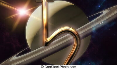 Animated saturn zodiac horoscope symbol and planet. 3D...