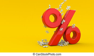 Animated seasonal sales background with percent discount pattern. Business illustration. 3D