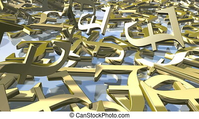 Animated shiny gold english Pound money signs falling down. 3d rendering 4K