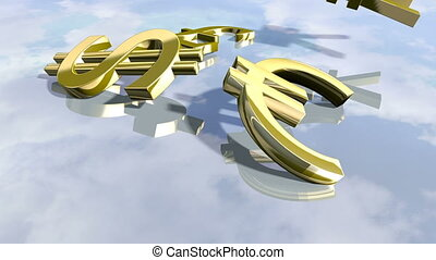 Animated shiny leading money signs. 3D rendering 4K