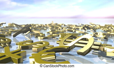 Animated shiny leading money signs falling down. 3D rendering 4K