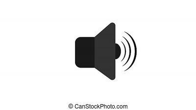 Animated sound volume logo. 4k vector animation. Sound icon on white isolated background