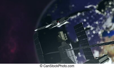 Animated spaceshuttle embarks at a spacestation 4K - An...
