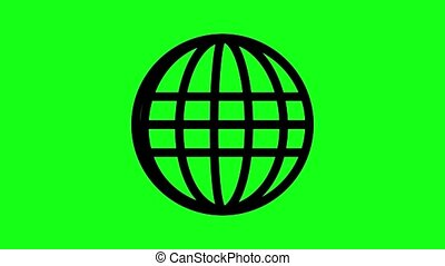 Animated spinning globe - Globe Icon 360 in green screen....