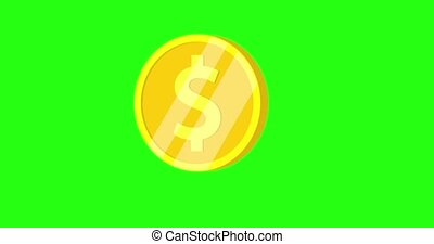 Animated spinning gold coin on green screen. Excitement, luck, fortune. Flat object animation. 360 degrees spinning coin. 4K Looped animation, 3D animation.
