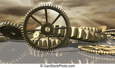 Animated steampunk vintage clockwork wheels fallen down. 3D rendering. 4K