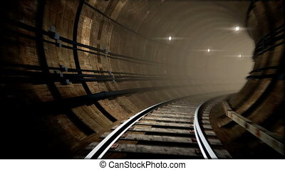 Animated subway tunnel, loop-able - A loop-able animation of...