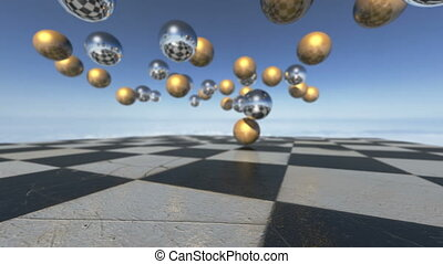Animated surreal oprganic spheres falling down on a...