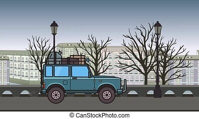 Animated SUV car with luggage on the roof trunk riding through autumn city. Moving off-road vehicle on city park backdround. Flat animation.