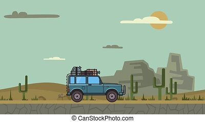 Animated SUV car with luggage on the roof trunk riding through canyon desert. Moving off-road vehicle on desert landscape, side view. Flat animation.